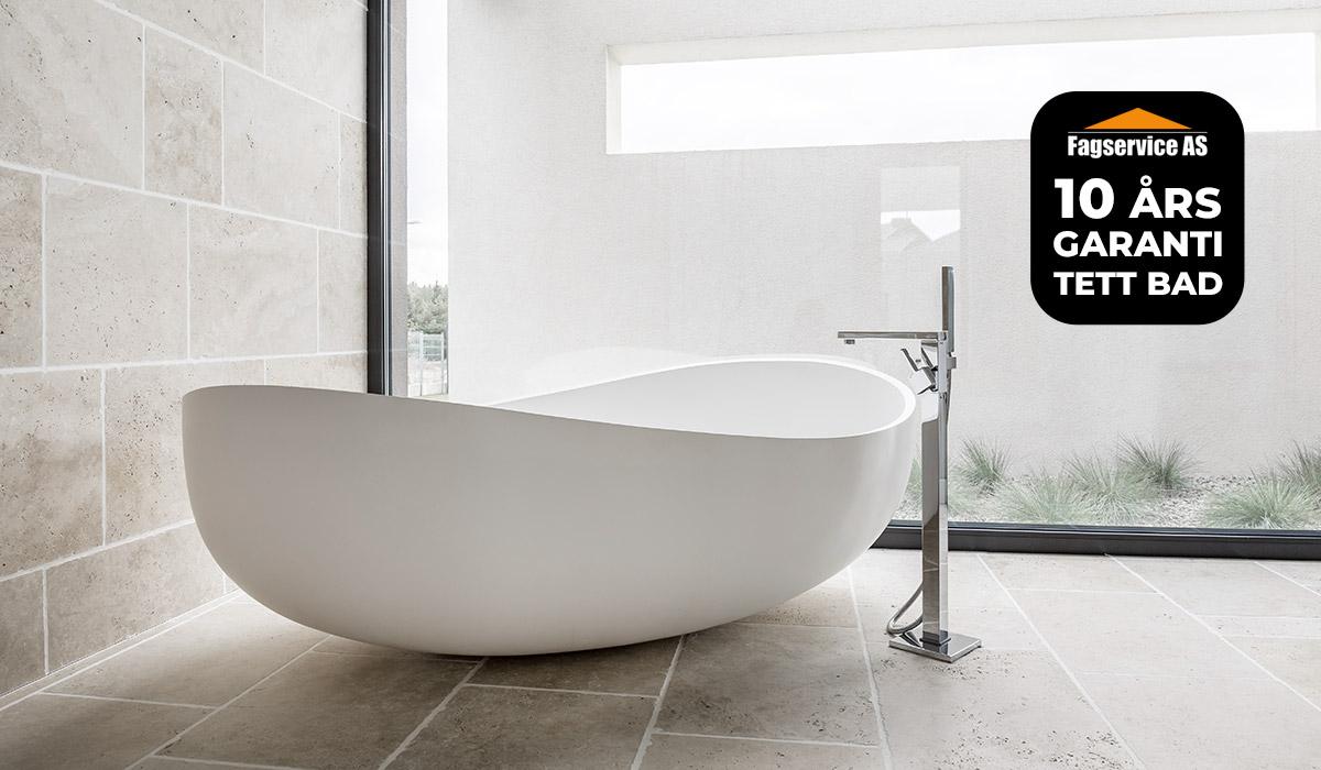 Fagservice AS har 10 ÅRS GARANTI tett bad ved oppussing av bad og våtrom